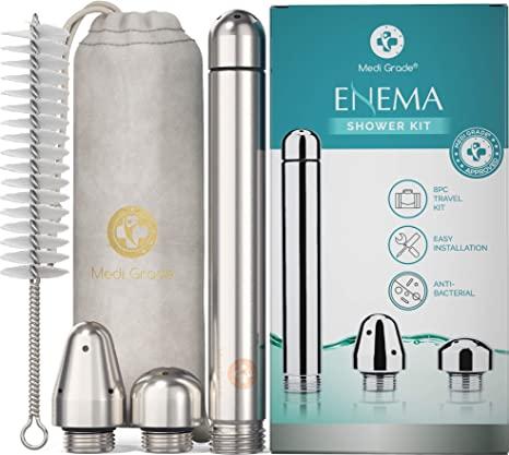 Medi Grade Accessori Enema Kit per Doccia Anale – 4 Pezzi in Alluminio Deluxe per Lavaggio Vaginale e Anale